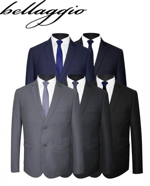 NEW BALLAGGIO MENS BUSINESS FORMAL PLAIN SLIM FIT SUIT JACKET AND TROUSERS